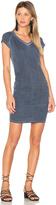 Sundry Ruched V Neck Mini Dress