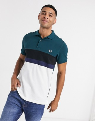 Fred Perry striped polo in white