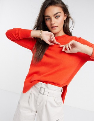 French Connection Mila Knits Crew Neck Sweater in Red