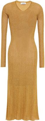 Lanvin Metallic Ribbed-knit Midi Dress