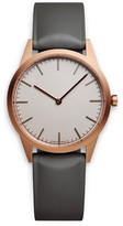 Uniform Wares C35 Men's two-hand watch in PVD rose gold with dark grey nitrile rubber strap
