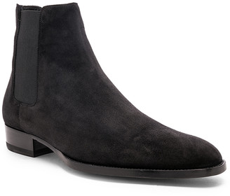 Saint Laurent Suede Wyatt 30 Chelsea Boots in Black | FWRD