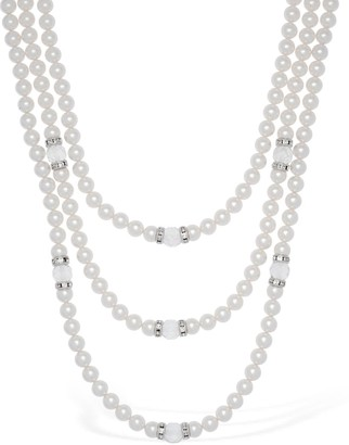 Alessandra Rich Triple Wrap Imitation Pearl Necklace