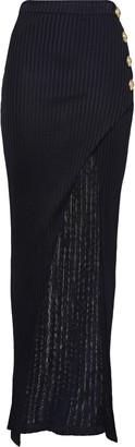 Balmain Wrap-effect Button-embellished Ribbed-knit Maxi Skirt