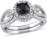MODERN BRIDE Midnight Black Diamond 1 1/2 CT. T.W. Color-Enhanced Black & White Diamond 10K White Gold Bridal Set