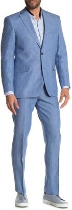 Tommy Hilfiger Blue Solid Two Button Notch Lapel Linen Suit
