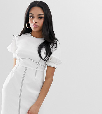 Asos DESIGN Petite contrast stitch mini dress with puff sleeves