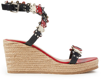 Red(V) Studded Laser-cut Leather Wedge Espadrille Sandals