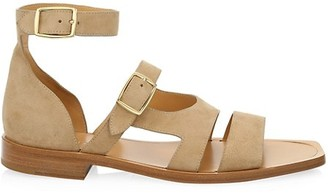 Fendi Ankle Strap Suede Sandals