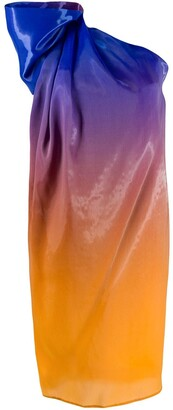 Halpern Ombre One Shoulder Dress