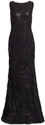 Rene Ruiz Collection Sequin Embroidery Flared Column Gown