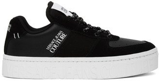 Versace Black and White Platform Low-Top Sneakers