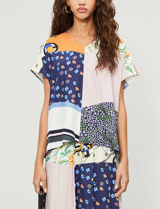 See by Chloe Patchwork-print V-neck woven top