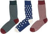 Linea 3 Pack Fine Stripe And Spot Sock