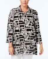 JM Collection Plus Size Printed Mesh Jacket, Only at Macy's