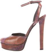Gucci Snakeskin Ankle Strap Pumps