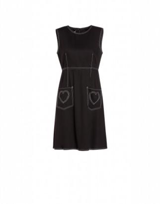 Love Moschino Viscose Twill Dress With Hearts Woman Black Size 38 It - (4 Us)