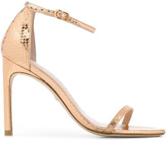 Stuart Weitzman Metallic Snakeskin Effect 70mm Leather Sandals