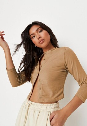 Missguided Stone Button Front Long Sleeve Crop Top