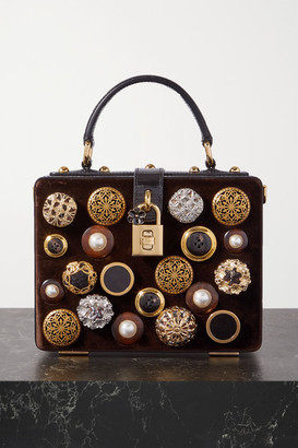Dolce & Gabbana Box Embellished Velvet And Lizard-effect Leather Tote - Dark brown