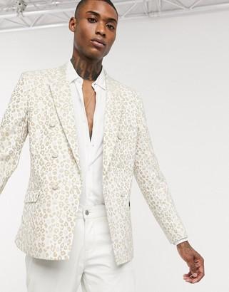ASOS DESIGN slim double breasted blazer in leopard jacquard