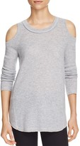 Aqua Cashmere Cold Shoulder Cashmere Sweater