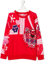 Kenzo teen embroidered intarsia sweater