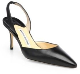 Manolo Blahnik Carolyne Leather Slingback Pumps