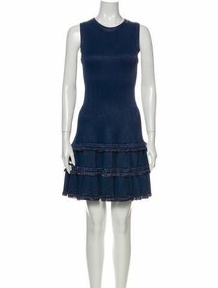 Alaia Crew Neck Mini Dress Blue