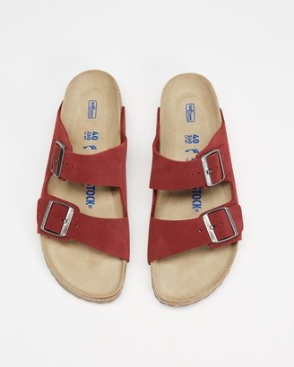 Birkenstock Women's Red Flat Sandals - Arizona Suede Leather - Women's - Size 37 at The Iconic
