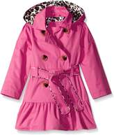"Pink Platinum Little Girls' Toddler ""Feline Trimmed"" Belted Trench Coat - fuchsia"