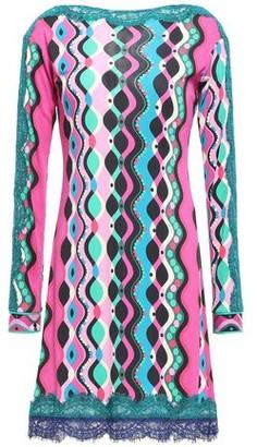 Emilio Pucci Lace-trimmed Printed Stretch-jersey Mini Dress