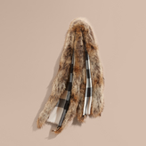 Burberry Raccoon Trim Check Wool Cashmere Scarf