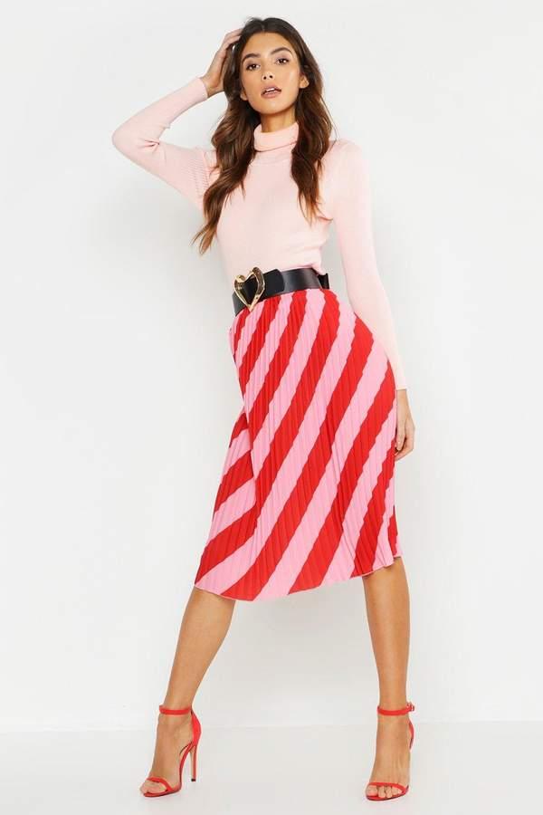Woven Stripe Pleated Skirt