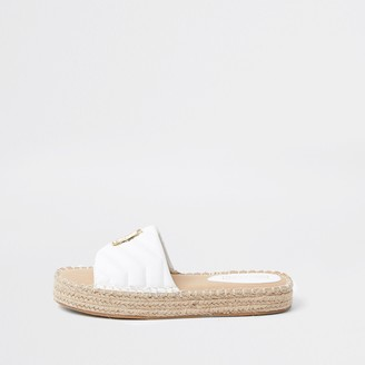 River Island Womens White quilted RI espadrille sandals