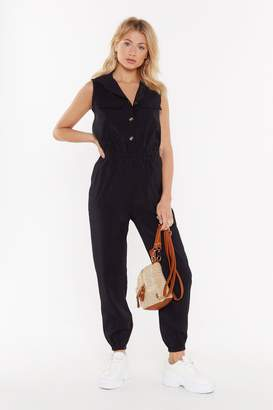 Nasty Gal Womens Jumping To Conclusions Button-Down Jumpsuit - Black - S/M, Black