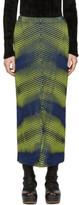 Issey Miyake Yellow and Navy Aurora Oval Skirt