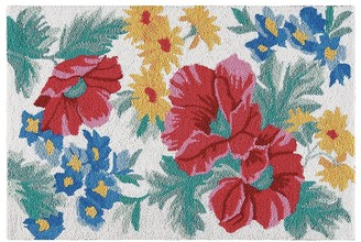 C&F Home Madeline Blue and Red Floral Wool Hooked Rug