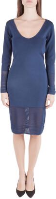 Zac Posen Navy Blue Stretch Knit Sheer Pointelle Trim Long Sleeve Midi Dress M