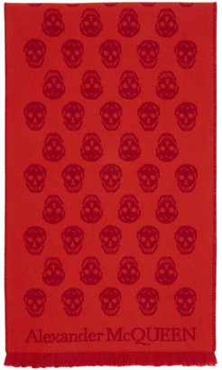 Alexander McQueen Red and Orange Reversible Skull Scarf
