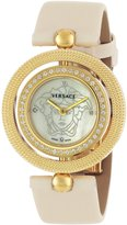 Versace Women's 79Q71SD497 S002 Eon Yellow Gold Ion-Plated Coated Stainless Steel Ivory Leather Diamond Watch