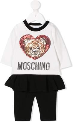 Moschino Kids sequin logo T-shirt and leggings set