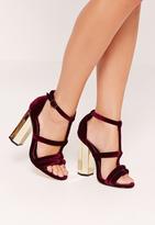 Missguided Metal Block Heel Velvet Sandals Burgundy