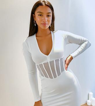 ASOS DESIGN Petite corset waist detail mini dress in white