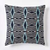 west elm Crewel Diamond Stripe Pillow Cover - Nightshade