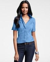 Ann Taylor Cotton Short Sleeve Button Down Shirt