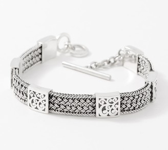 Lois Hill Sterling Silver Woven Station Bracelet, 23.0g