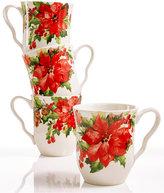 222 Fifth Winter Poinsettia 4-Pc. Mug Set