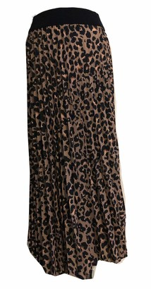 Pamper Yourself Now Ltd   Lv Clothing Ladies Animal Leopard Print Pleated Skirt with Elasticated Waistband Maxi Length Great for Everyday Casual Holiday Summer (A95) - Made in Italy (Brown)