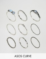 Asos Pack of 9 Moon Stone Twist Rings